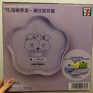最新推出港版新年LINE FRIENDS x LE CREUSET 新年別注版生果托盤碟-紫色