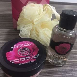 Body shop British Rose shower gel and body butter