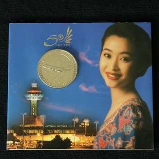 1997 Singapore Airlines 50th Anniversary $5 Commemorative Coin (MINT)