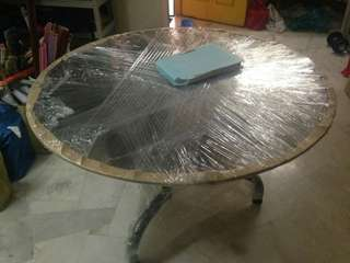 Tempered glass round table c/w six seats