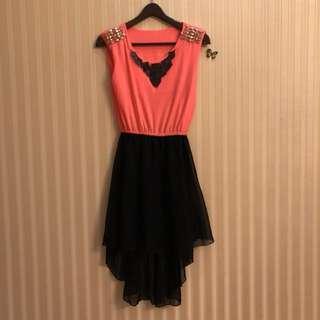Dress neon black studded