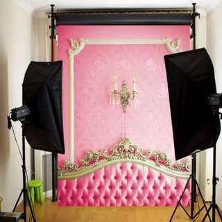 Pink headboard vinyl photography backdrop