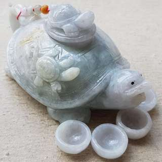 Certified Type A Grade Jadeite Teapot Display Set 100% Natural Green Jade Tortoise 长命百岁