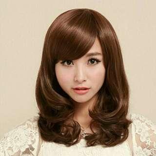 wig rambut palsu wanita model gelombang bentuk kepala pir hitam