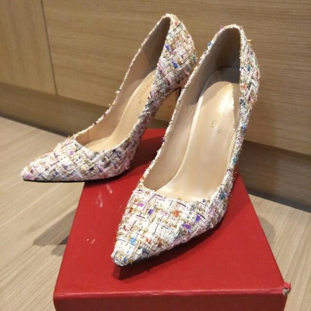 白色系彩色金蔥高跟鞋23.5