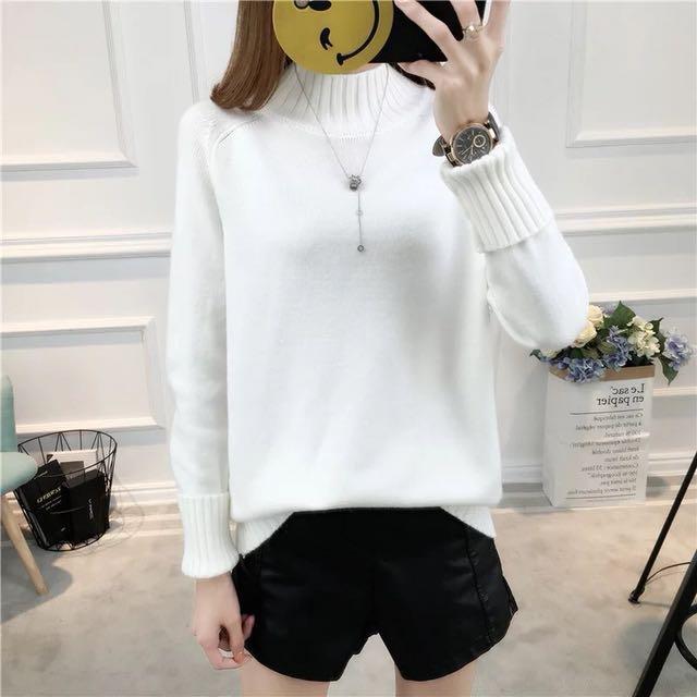 9色❤️半高領針織毛衣長袖上衣寬鬆套頭打底衫百搭秋冬流行女裝韓版衣服素色黑色白色毛衣