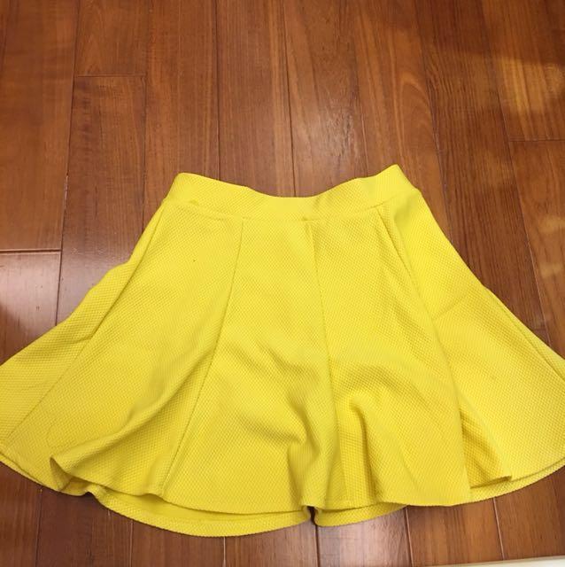 韓系彈性黃色裙子
