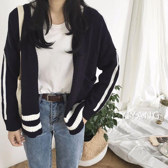 側白條隨性針織外套