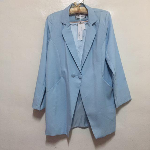 水藍寬鬆西裝外套