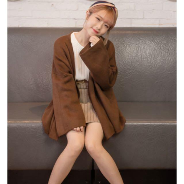 韓系純色開襟毛衣外套