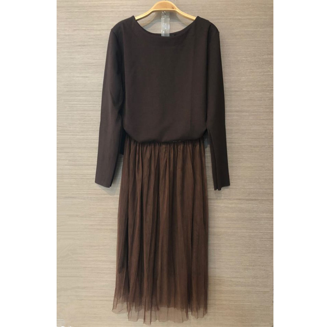 出清特價 咖啡色棉上衣搭紗裙兩件套裝