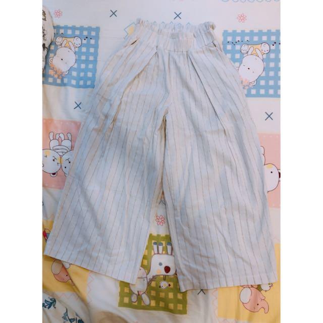 日系 韓系 寬褲 白色 淺條紋 口袋