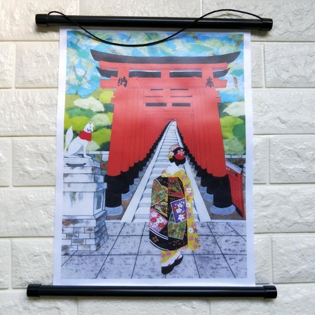京都買的 日本 稻荷神社的掛布 適合當裝飾 藝妓 鳥居 圖