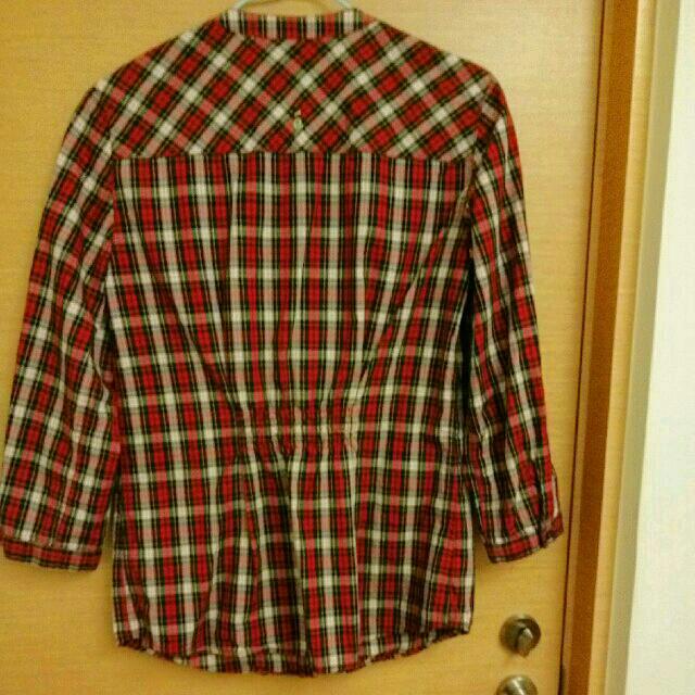a la sha格紋七分袖襯衫