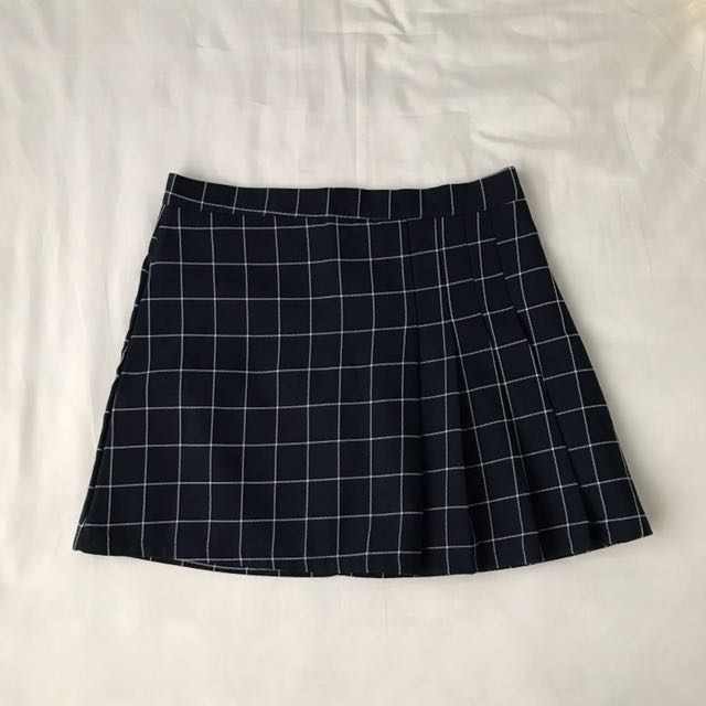 AA Inspired Pleated Checkered / Grid Tennis Skirt