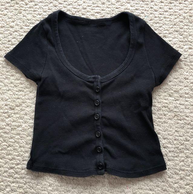 American Apparel Black Button Crop Top
