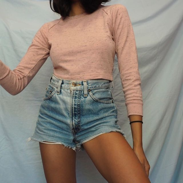 American apparel pink crop sweater