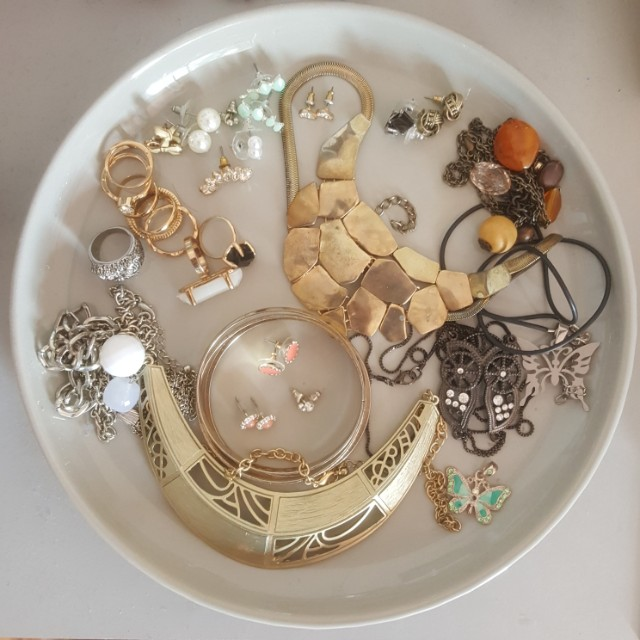Assorted jewellery rings earrings necklaces bangles