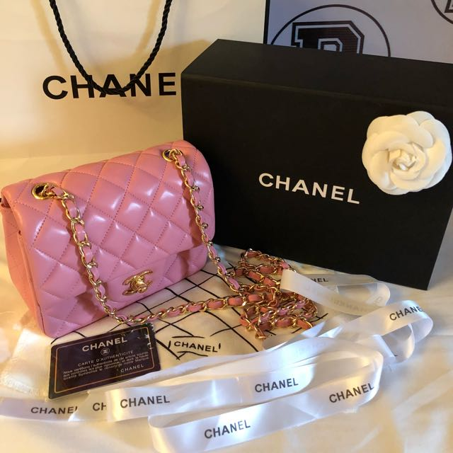 e56d0664dc42 Authentic CHANEL Mini Square Pink Lambskin Classic flap bag with GHW ...