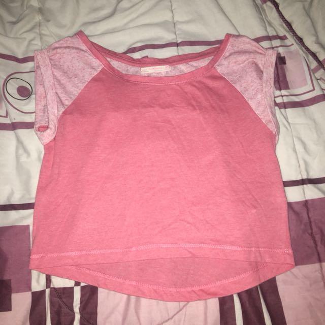 Bershka Pink Raglan Shirt