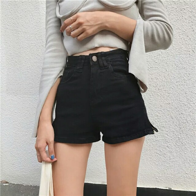 [Beststyler] women student 2018 hot sexy short pant with zip slim and thin cutting casual pants