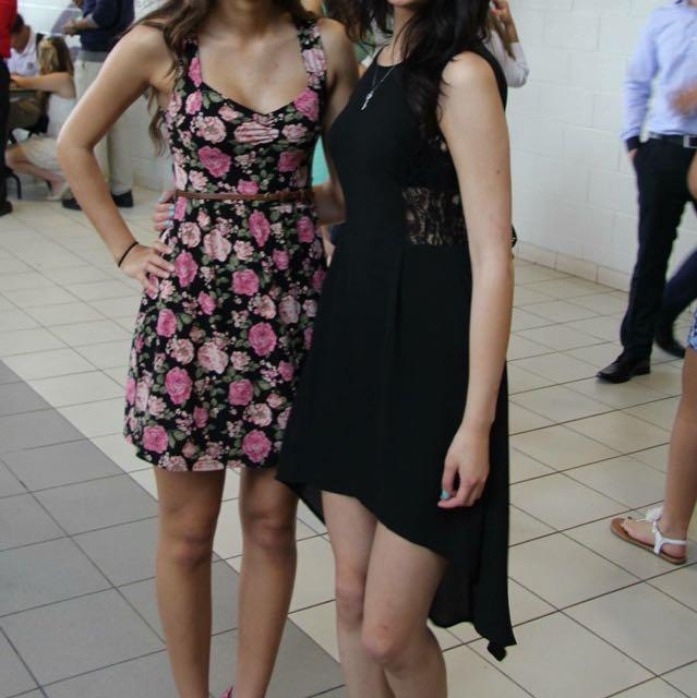 Black lace high low dress (S)