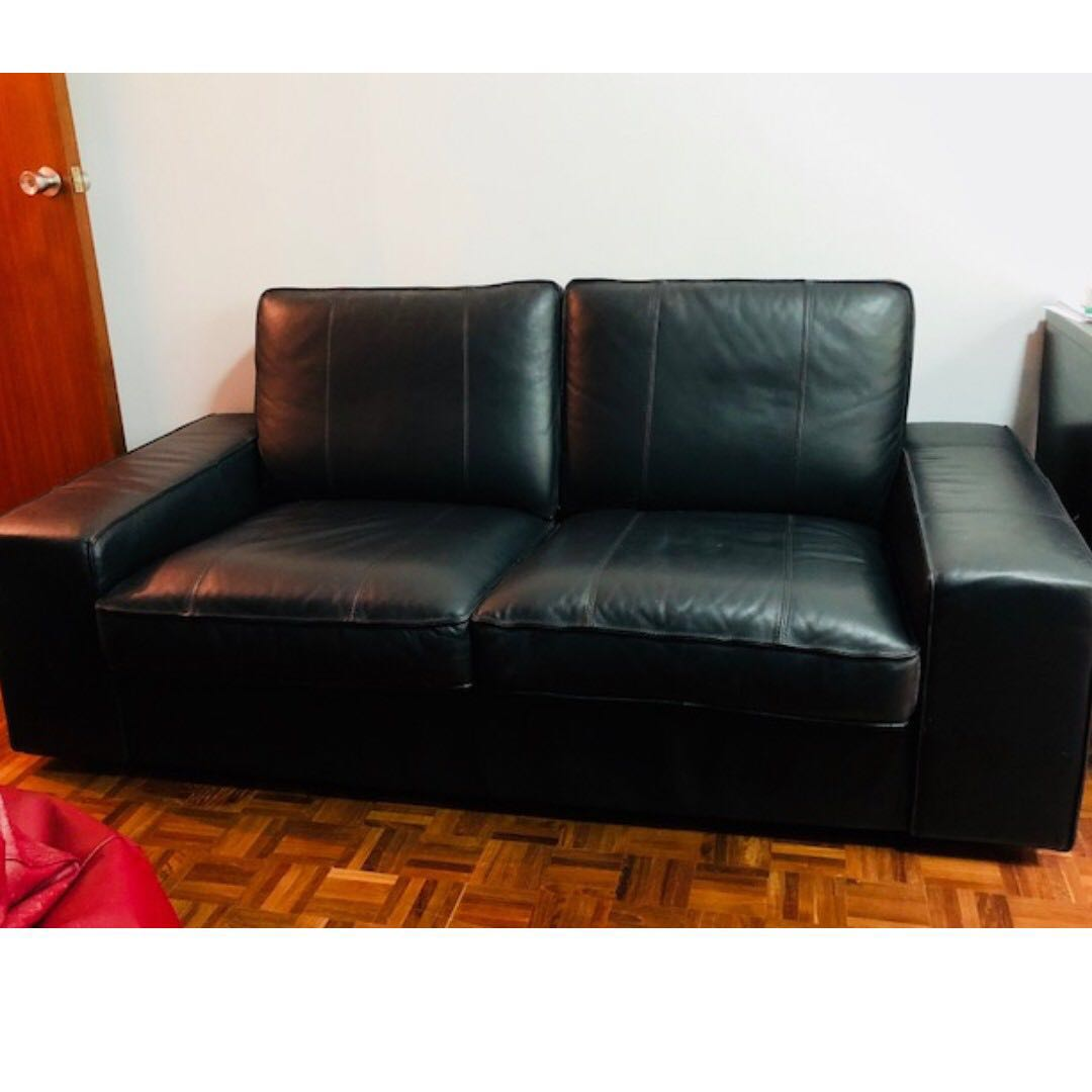 Black Leather Ikea Kivik Sofa (2 Seater) - Good Condition ...
