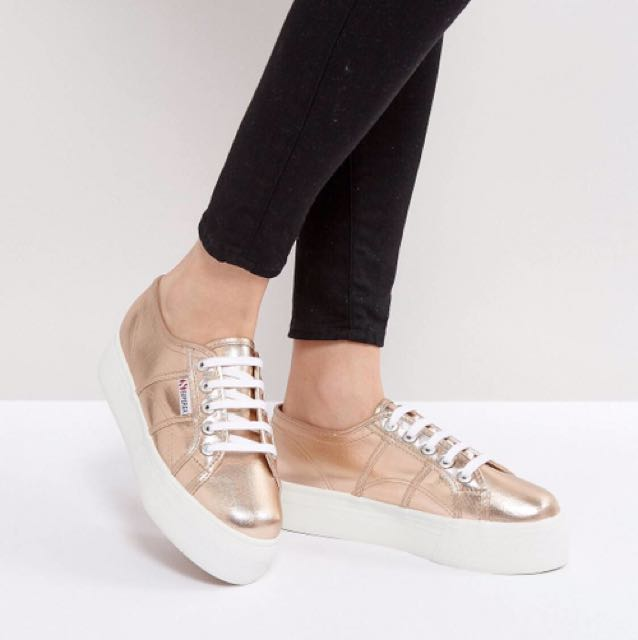 26572b8e8412 BN Superga 2790 Metallic Flatform Trainers in Rose Gold