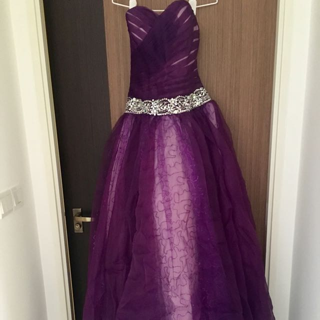 Bnwt Royal purple wedding gown, Women\'s Fashion, Clothes, Dresses ...