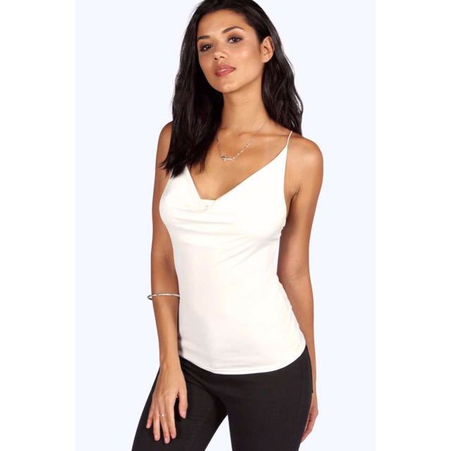 BNWT White Slinky Cowl Front Cami Top by Boohoo