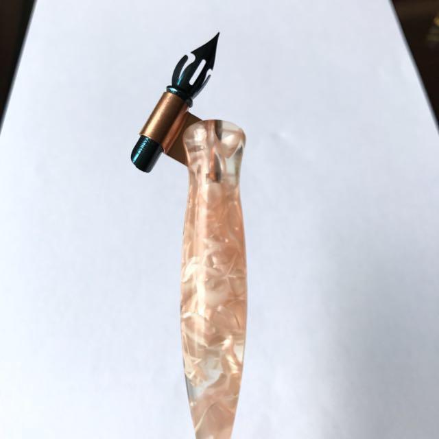 oblique pen  Calligraphy Oblique Pen Holder, Rose Gold Flange, Acrylic Resin ...