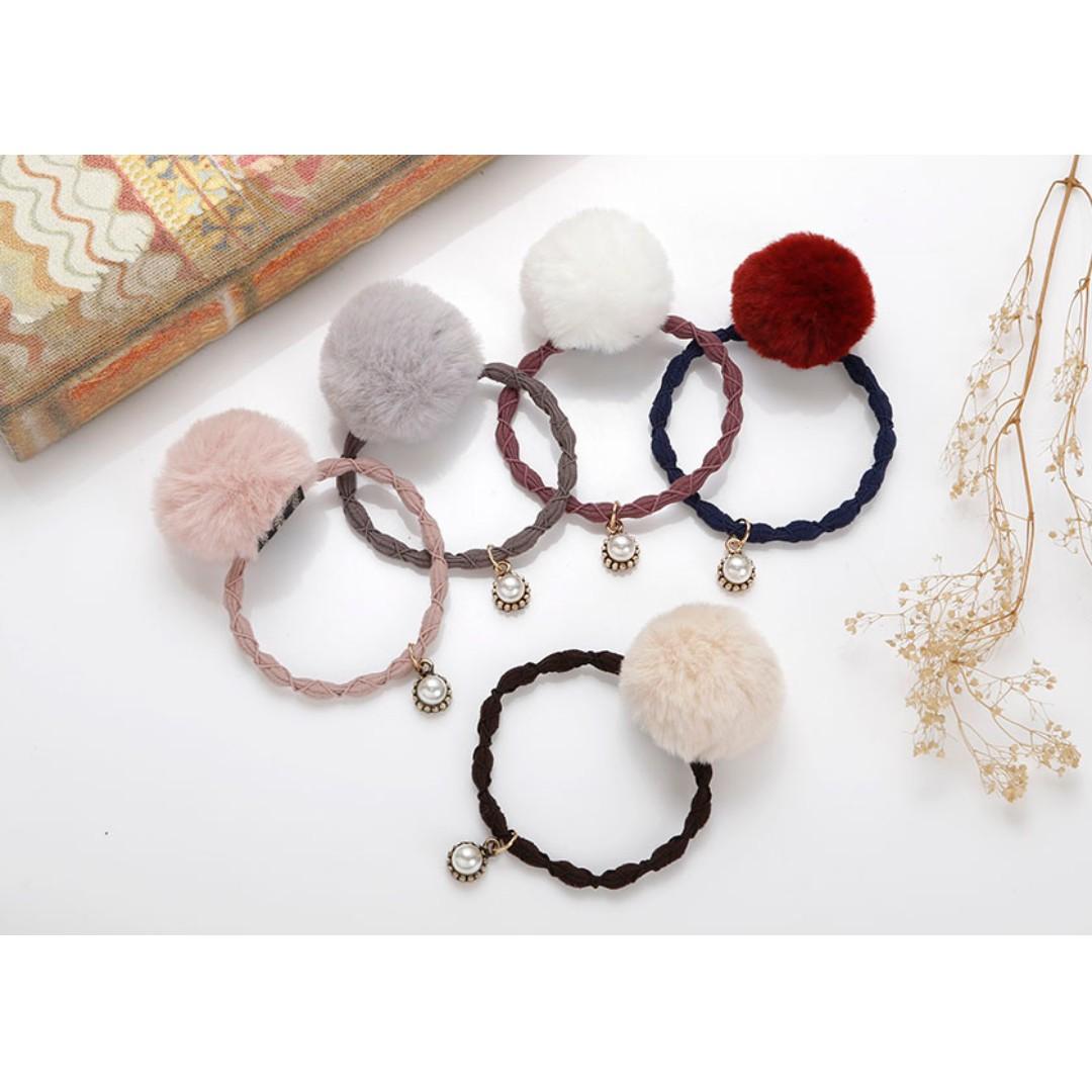 CaNia正韓系列 【可愛毛球珍珠髮圈髮飾】髮繩 髮飾 韓國髮飾 韓系髮飾 韓國飾品 情人節禮物 生日禮物