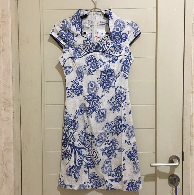 Cheongsam Porcelain BATIK Chinesse Blue Baju Dress CNY IMLEK