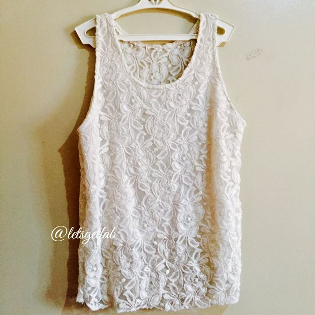 🌸Classy Off White Lace Sleeveless