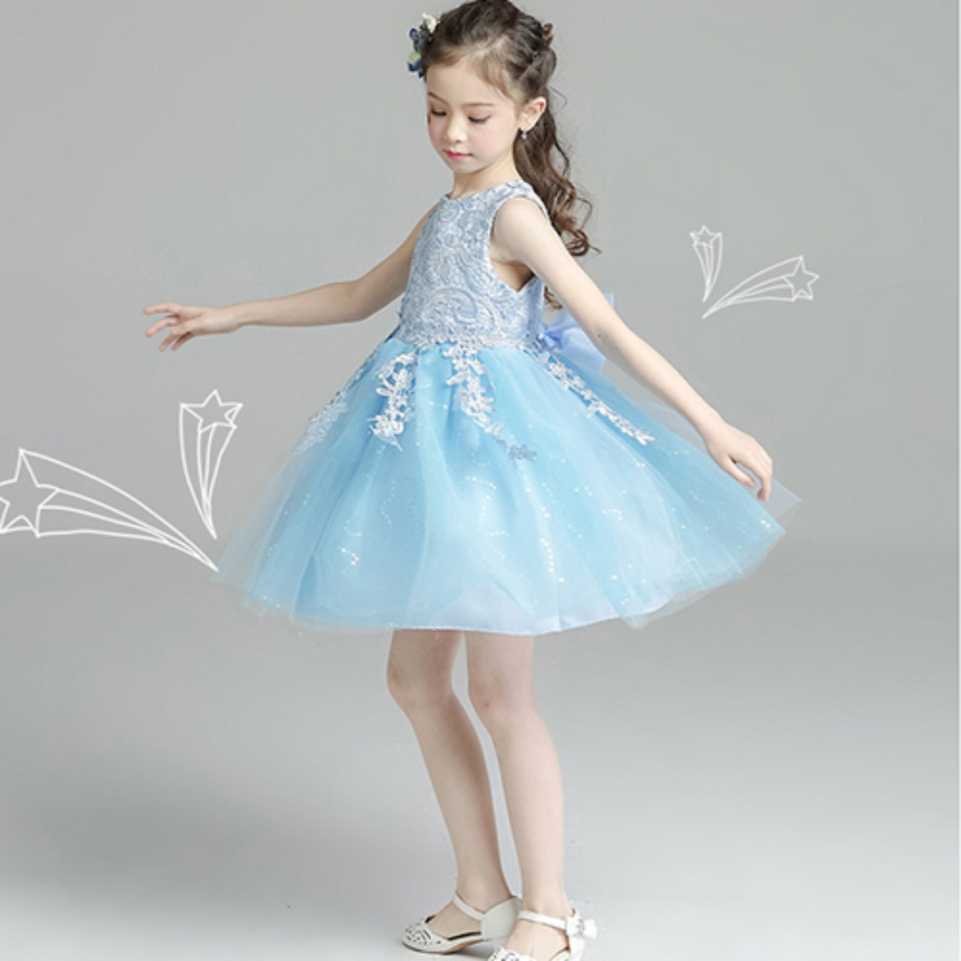 Cute Lace Sleeveless Short Tulle Flower Girl\'s Party Princess Dress ...