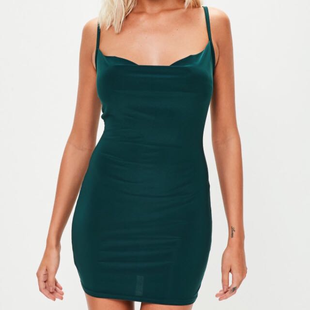 Dark Green Slinky Cowl Neck Dress