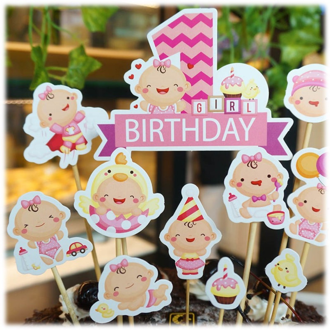 Diy Baby Girl 1st Birthday Cake Toppers Babies Kids On Carousell