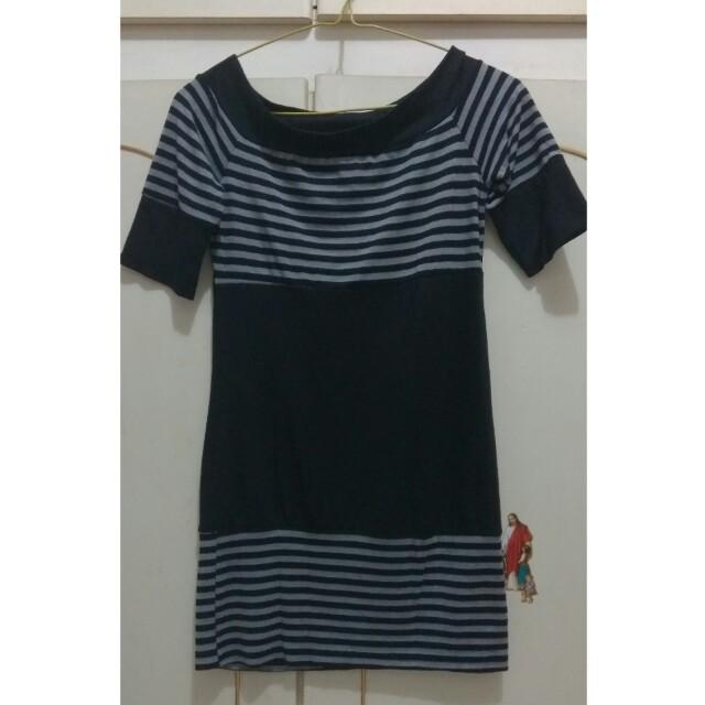 Dress press body stripes hitam abu abu