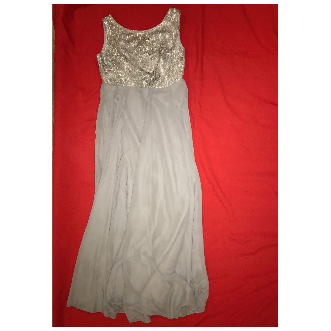 Efren Ocampo silver gray gown with lace beaded top