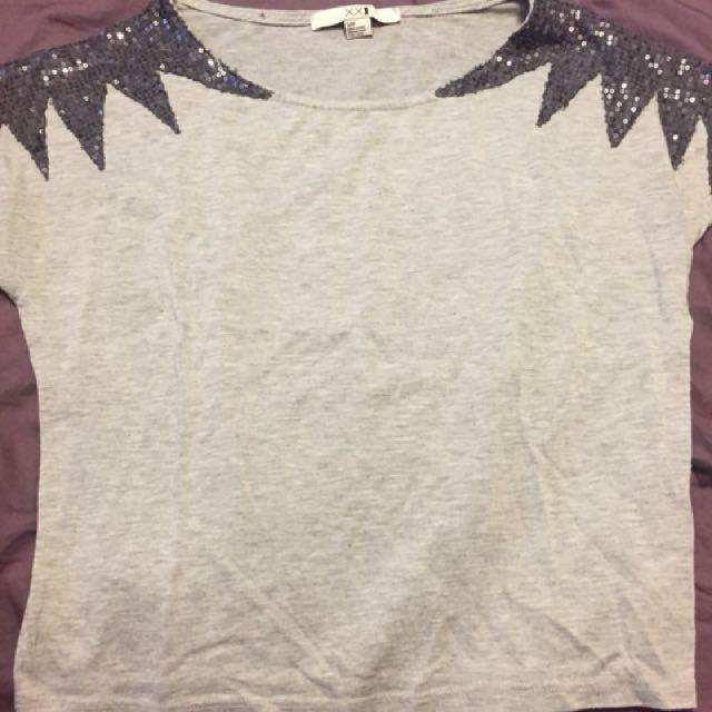 F21 - shoulder sequinned shirt