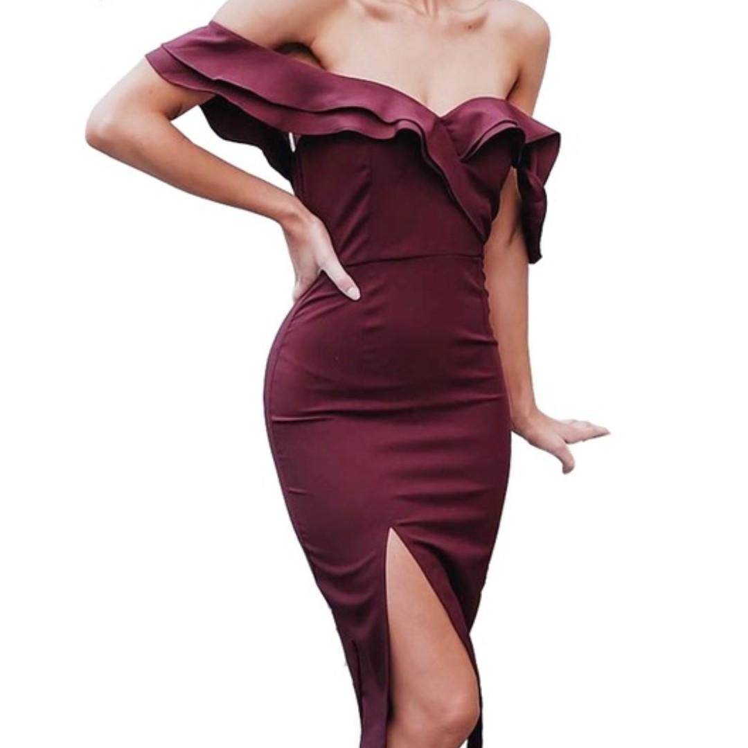 Formal Off Shoulder Midi Dress