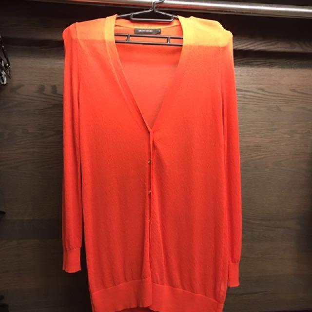 G2000亮橘色長版薄外套