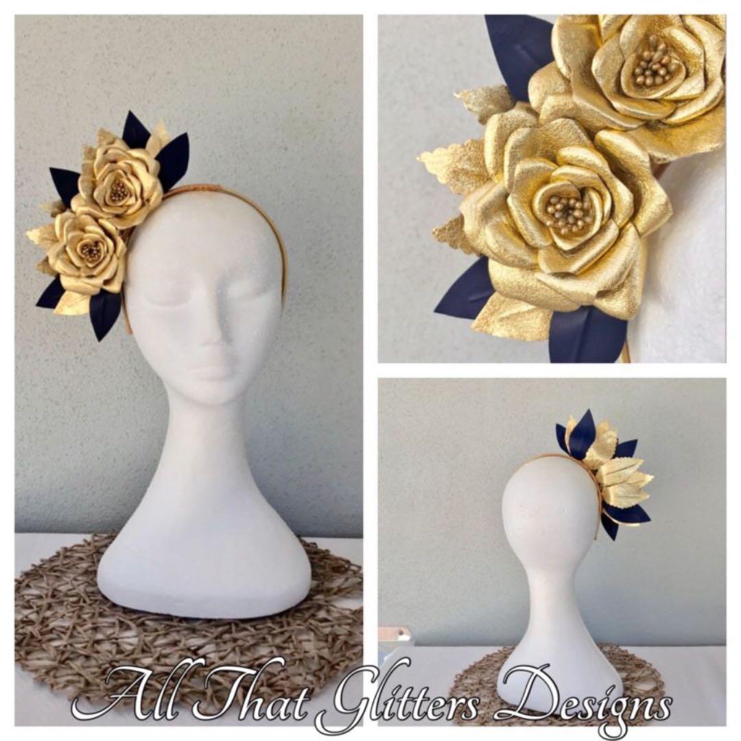 Gold & Navy Leather Roses Headband Fascinator for Races, Wedding, Bespoke BNIB