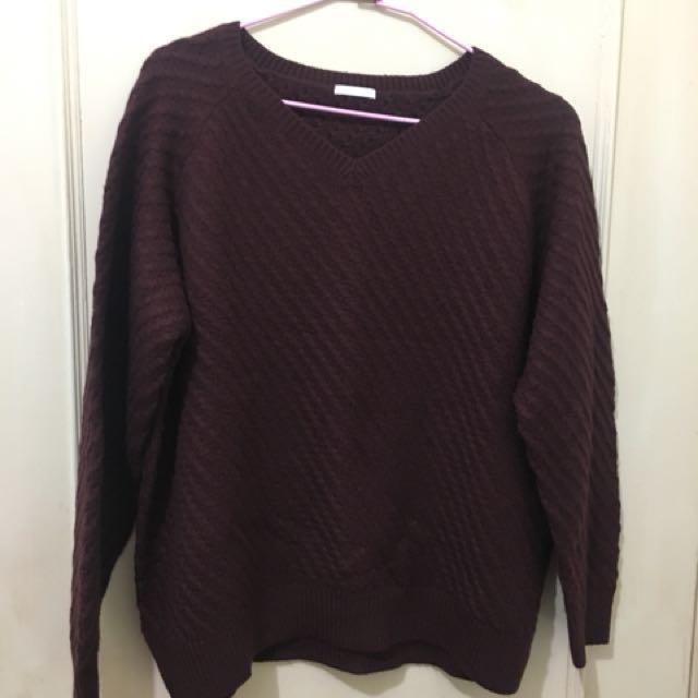 GU酒紅 針織 毛衣 上衣