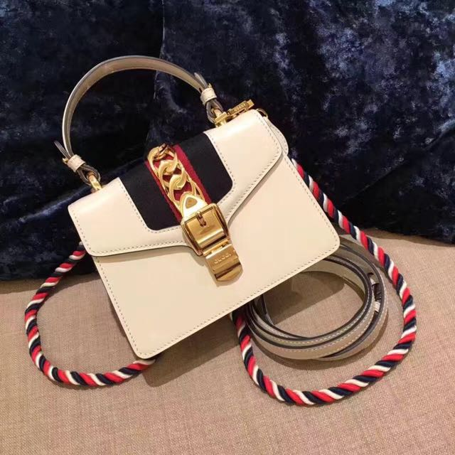 Gucci White Leather Sylvie Mini Bag