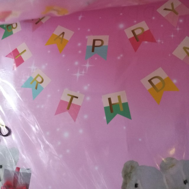 Happy birthday with gold font banner