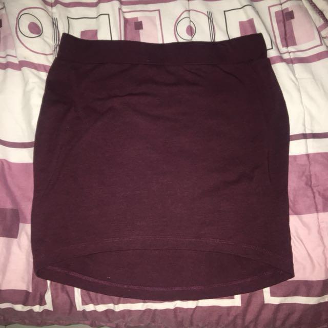 H&M Maroon Bodycon Mini Jersey Skirt