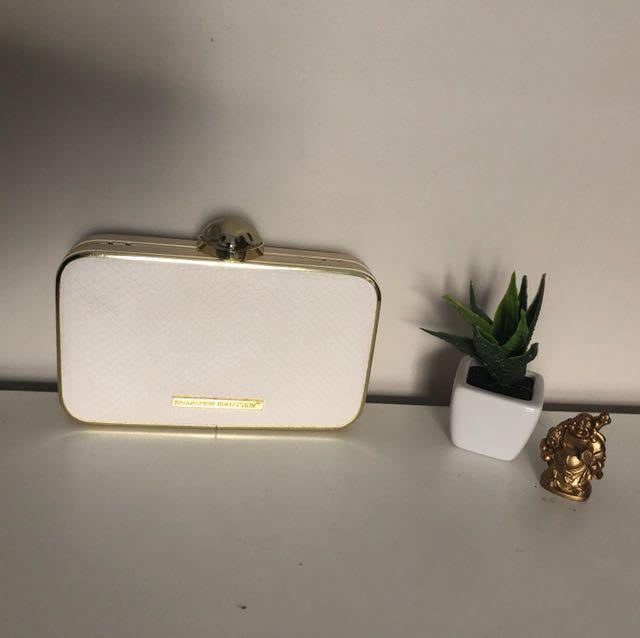 Kardashian Kollection White and Gold clutch