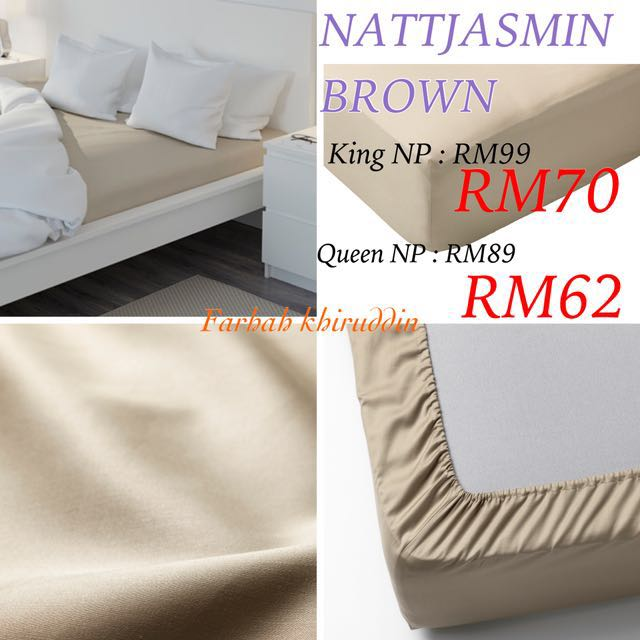 Ikea bedsheet Nattjasmin Brown King n queen left