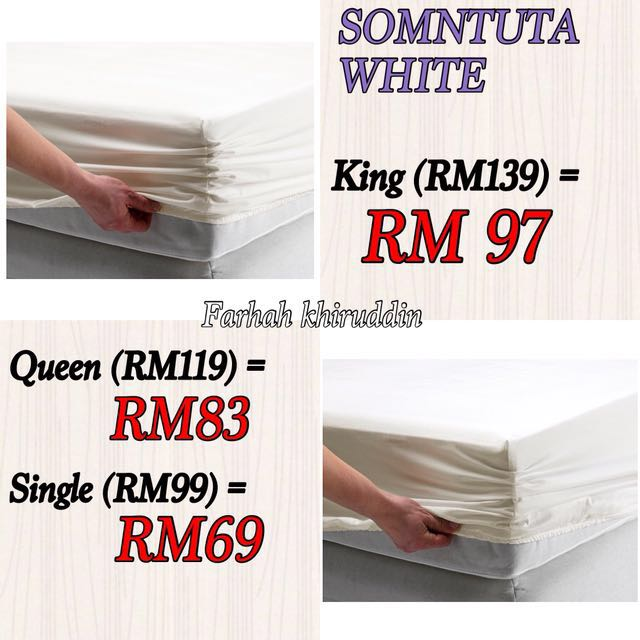 Ikea bedsheet SOMNTUTA WHITE queen only left